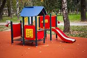 picture of playground  - colourful playground for small kids in the park - JPG