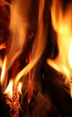 image of fire  - Fire over black background - JPG