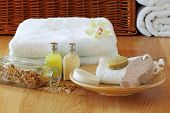 stock photo of pumice-stone  - Spa setting with towels - JPG
