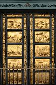stock photo of bible story  - Gates of Paradise with Bible stories on door panels of Duomo Baptistry - JPG