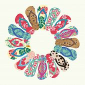 foto of tiki  - Flip Flops and Slippers Vector round pattern - JPG
