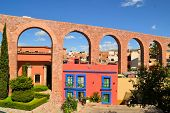 stock photo of conquistadors  - Spanish colonial aquaeduct providing water in former silver mining town of Zacatecas, Central Mexico ** Note: Soft Focus at 100%, best at smaller sizes - JPG