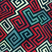 picture of maze  - spiral maze seamless pattern  - JPG