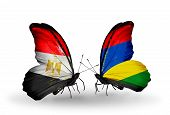stock photo of mauritius  - Two butterflies with flags on wings as symbol of relations Egypt and Mauritius - JPG