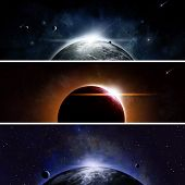 picture of imaginary  - Imaginary space and astromony banners with sun eclipse - JPG
