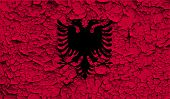 stock photo of albania  - Flag of Albania with old texture - JPG