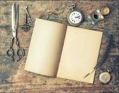 picture of inkwells  - Open journal book and vintage writing tools on wooden table - JPG