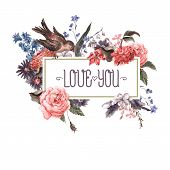image of rose  - Vintage Watercolor Greeting Card with Blooming Flowers and Birds - JPG