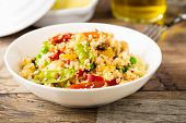 stock photo of tabouleh  - fresh cous cous with mixed grilled vegetables - JPG