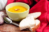 stock photo of home-made bread  - squash soup with home made artisan bread - JPG