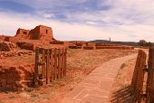 foto of pueblo  - The historical Pecos Pueblo in New Mexico lays in ruin but provides tourist with a wonderful history lesson - JPG