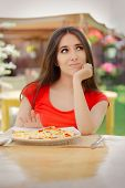 pic of high calorie foods  - Beautiful girl saying no to fast food - JPG