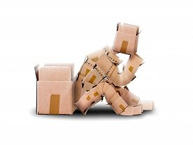 picture of thinking outside box  - Think outside the box concept with boxman sitting next to an empty container - JPG