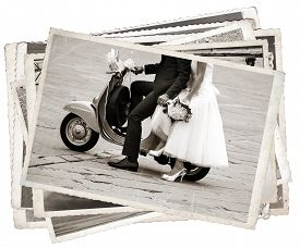 picture of grayscale  - Vintage photos with Young newlywed just married posing on an old gray scooter - JPG