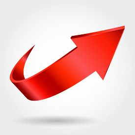 stock photo of arrow  - Red arrow and white background as success simbol - JPG