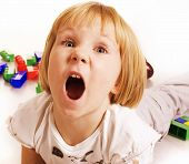 pic of screaming  - little cute blond girl emotional screaming in camera on white background isolated - JPG