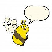 image of bee cartoon  - funny cartoon bee with speech bubble - JPG