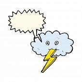 image of lightning bolt  - cartoon lightning bolt and cloud with speech bubble - JPG