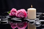 foto of stone-therapy  - Pink rose with candle and therapy stones  - JPG