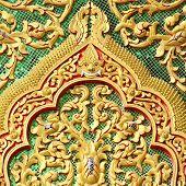Постер, плакат: Gable Detail Temple Wat Muen Lan Chiangmai