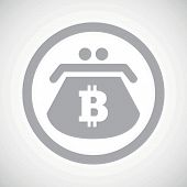 picture of bitcoin  - Grey image of purse with bitcoin symbol in circle - JPG