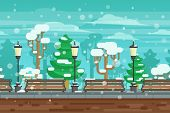 foto of pews  - Winter garden landscape with lanterns and benches under snow doodle poster vector illustration - JPG