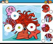image of brain-teaser  - Cartoon Illustration of Match the Pieces Educational Game for Preschool Children - JPG