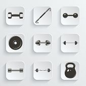 picture of weight lifter  - Set of sign weights for fitness or gym paper icons - JPG