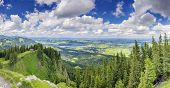 picture of bavaria  - Panorama view from the peak of Alpspitze near Nesselwang Bavaria Germany - JPG