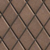 stock photo of paving  - Paving  Slabs Brown Laid in the Form of Rhombuses - JPG