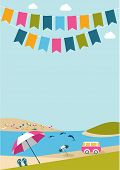 stock photo of dolphins  - Summer Poster With Color Flags Dolphins - JPG