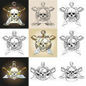 picture of pirate  - Template pirate logo with skull in various options - JPG
