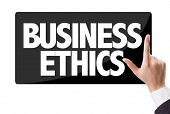 picture of ethics  - Businessman pressing button with the text - JPG