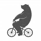 stock photo of bear  - Vintage Illustration bear on a bike with Grunge effect - JPG