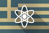 picture of atomizer  - Illustration of a Greece long shadow flag with an atom - JPG