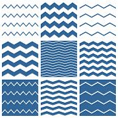 picture of chevron  - Tile vector chevron pattern set with sailor blue and white zig zag background for seamless decoration wallpaper - JPG
