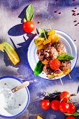 foto of meatball  - grilled meatballs with vegetables - JPG