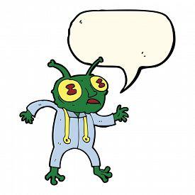 stock photo of spaceman  - cartoon alien spaceman with speech bubble - JPG