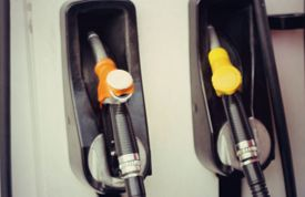stock photo of fuel pump  - blurred fuel pumps at gas station  - JPG