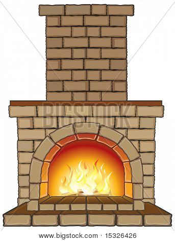 ... or Photo of Isolated vector Fireplace with fire-separated elements