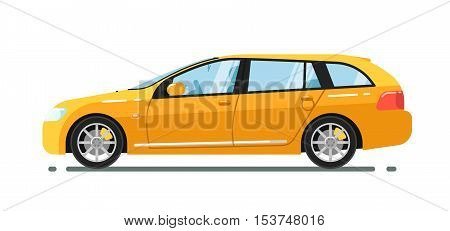 poster of City car isolated on white background. Vector station wagon car. Vehicles cartoon car isolated. Station wagon car side view isolated. Urban car or family car cartoon style. Modern car model. Car icon. For car rental service or car sale poster. Car ad.