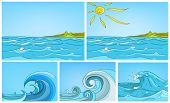 Hand drawn vector cartoon set of sea landscapes. Colourful cartoons of sea or ocean backgrounds. Vec poster