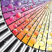 Abstract illustration of Piano Keys with Melody Bubbles,over Retro Music background