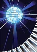 Telón de fondo de música con teclas brillante bola de discoteca y Piano.