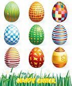stock photo of pasqua  - Collection of beauty easter eggs - JPG
