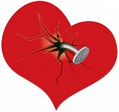 stock photo of broken hearted  - Crashed heart  - JPG