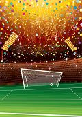 Soccer champions celebrating at stadium-vector background for your text or design