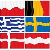 Set of waving textile European flags-vector without gradients