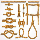 Vector Rope - design illustrations set- knot, ladder, noose, loop, reef knot, eight knot, string and