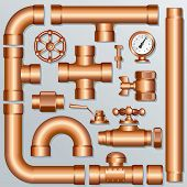 Collection of detailed Brass Pipeline pieces, for create your own domestic, industrial or brewery co